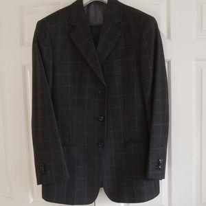 Giorgio Armani charcol grey windowpane 3 pc suit